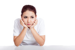 Asian girl fed up Stock Images