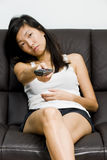 Asian girl feeling tired and sleepy Stock Photo