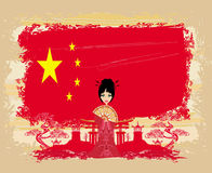 Asian girl and flag of China Stock Photo