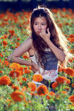 Asian girl in the flower Stock Photos