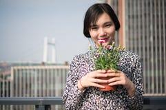 Asian Girl Flower Royalty Free Stock Photo
