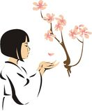 Asian Girl With Flowers Royalty Free Stock Photos
