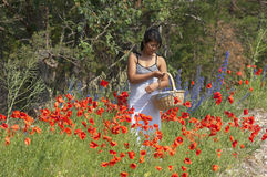 Asian girl and flowers Royalty Free Stock Image