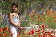 Asian girl and flowers Stock Photo