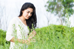 Asian girl in the flowers garden Royalty Free Stock Photography