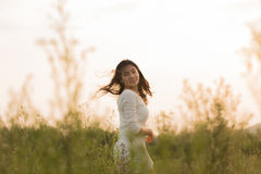 Asian girl in the flowers garden Stock Photo