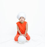 Asian girl and football. Royalty Free Stock Photography