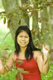 Asian girl and forest Royalty Free Stock Photos