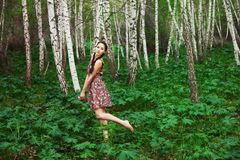 Asian girl  in forest Stock Photo