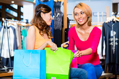 Asian girl friend fashion shopping in store Royalty Free Stock Photo
