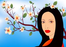 Asian girl in the garden. Asian beautiful girl in the garden stock illustration