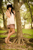 Asian girl in garden Royalty Free Stock Images