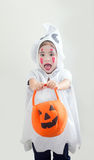 Asian girl in ghost suite white Stock Images
