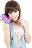 Asian girl with gift Stock Photos
