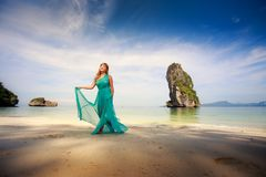 Asian girl in green dress Stock Photography