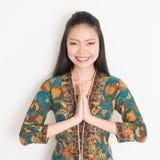Asian girl greeting Stock Photos