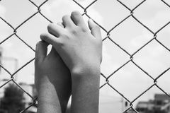 Asian girl hand hold jail Stock Images