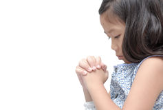 Asian girl hand praying, Hands folded in prayer concept for fait. Asian cute girl praying isolated over white background. asian girl hand praying, Hands folded Royalty Free Stock Photography