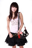 Asian girl with handbag. A beautiful Asian girl with handbag on white background Stock Photos