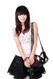 Asian girl with handbag. A beautiful Asian girl with handbag on white background Stock Image