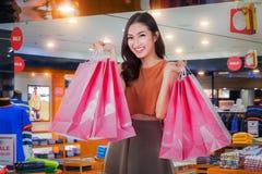 Asian girl happy enjoy shopping Royalty Free Stock Photo