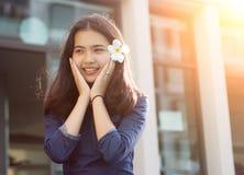 Asian girl having fun play in summer time royalty free stock photo