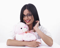 Asian girl with her  teddy bear Royalty Free Stock Photo