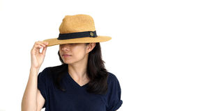 Asian girl hiding face under panama hat Stock Photography