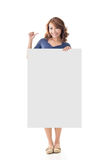 Asian girl hold a blank board Stock Photography