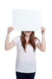 Asian girl hold blank sign close her eyes Stock Photos