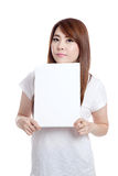 Asian girl hold blank sign Stock Photo