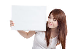 Asian girl hold blank sign Royalty Free Stock Photos