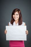 Asian girl hold blank sign and smile Stock Images
