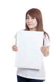 Asian girl hold blank sign vertically Stock Images