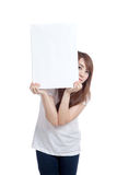 Asian girl hold blank sign vertically Royalty Free Stock Image