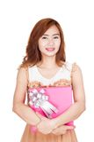 Asian girl hold a gift box Royalty Free Stock Images