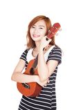 Asian girl hold ukulele Stock Photos