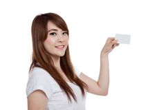 Asian girl hold a white card look at camera Stock Images