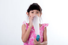 Asian girl holding chocolate icecream cup Stock Photos