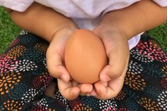 Asian girl holding egg with both her hands with care. Close up.like a take case something special all times royalty free stock image