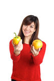 Asian girl holding fruits and vegetable Stock Photography