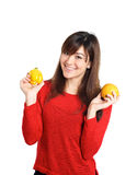 Asian girl holding fruits and vegetable Stock Photos