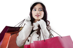 Asian girl holding lot of shopping bags Royalty Free Stock Images
