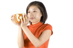 Asian girl holding mug Stock Photography