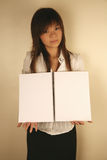 Asian girl holding notebook Stock Photo