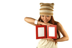 Asian girl holding photo frames Royalty Free Stock Image