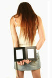 Asian girl holding photo frames Stock Photo