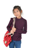 Asian girl holding red bag over white Royalty Free Stock Images
