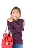 Asian girl holding red bag over white Royalty Free Stock Photo