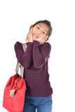 Asian girl holding red bag over white Stock Photos